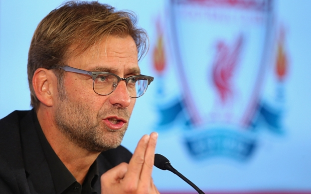 LIVERPOOL, ENGLAND - OCTOBER 09:  Jurgen Klopp is unveiled as the new manager of Liverpool FC during a press conference at Anfield on October 9, 2015 in Liverpool, England.  (Photo by Alex Livesey/Getty Images)
