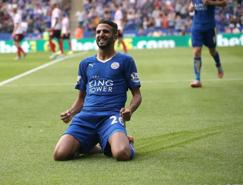 08 August 2015 Premier League Football - Leicester City v Sunderland ;   Riyad Mahrez of City celebrates his second goal. Photo: Mark Leech