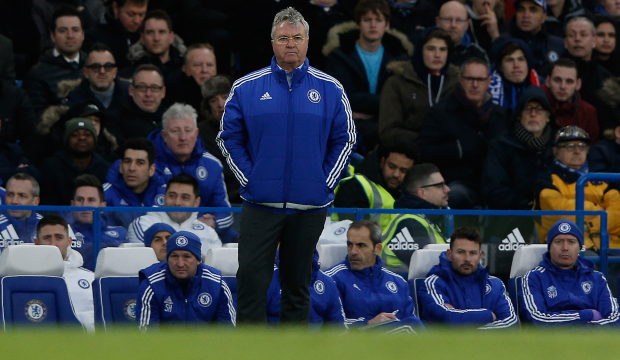 Chelsea's Dutch interim manager Guus Hiddink looks on during the English Premier League football match between Chelsea and Manchester United at Stamford Bridge in London on February 7, 2016. / AFP / ADRIAN DENNIS / RESTRICTED TO EDITORIAL USE. No use with unauthorized audio, video, data, fixture lists, club/league logos or 'live' services. Online in-match use limited to 75 images, no video emulation. No use in betting, games or single club/league/player publications.  /         (Photo credit should read ADRIAN DENNIS/AFP/Getty Images)